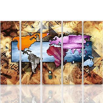 Retrato de cinco partes na lona, Pentaptych, tipo C, com uma composição 6 do mapa de mundo