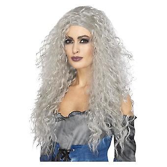 Dame lange grå Banshee paryk Fancy kjole tilbehør