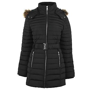 Golddigga Womens Belted Zip-Off Hood Puffed Bubble Jacket Winter Outerwear