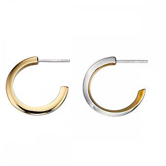 Fiorelli Silver Twist Silver And Yellow Gold Hoops Earrings E5651