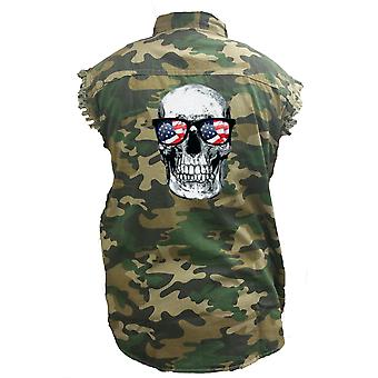 Men's Camo Sleeveless Denim Shirt Skull With American Sunglasses