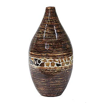 """10"""" X 10"""" X 20"""" Distressed Brown W/ Brown Coconut Shell Bamboo Spun Bamboo Vase"""