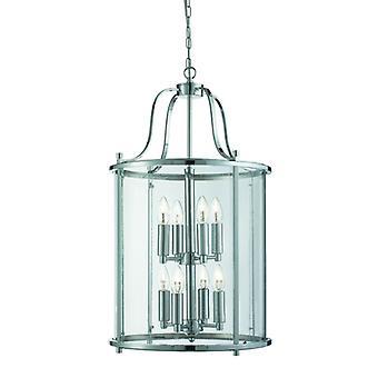 Victoriaanse lantaarn, 8 lichte Chrome, duidelijk glas
