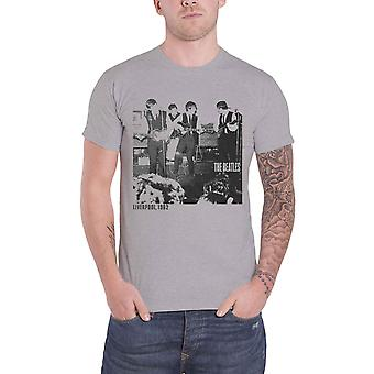 A camisa de T de Beatles ao vivo no caverna 1962 Mens oficial novo cinza