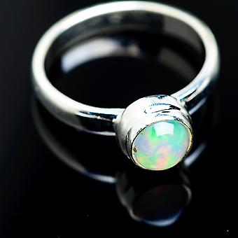 Natural Ethiopian Opal Ring Size 9 (925 Sterling Silver)  - Handmade Boho Vintage Jewelry RING984825