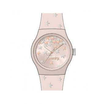 Superdry Watch SYL275P - Urban Star Pink Plastic Round Case Red Dor Pink Bracelet Pink Patterned Silicone