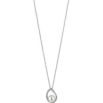 Adriana necklace with pendant silver rhod. Freshwater white 8.5-9mm Romantica R157