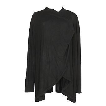 Anybody Women's Plus Sweater Brush Hacci Drape Frt Cardigan Black A286594