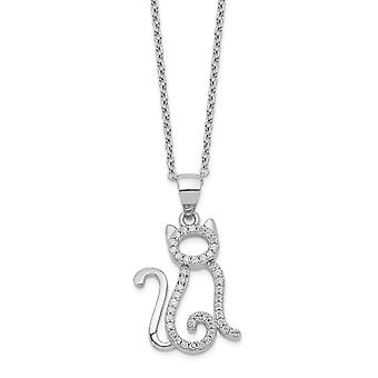 13.95mm Cheryl M 925 Sterling Silver CZ Cubic Zirconia Simulated Diamond Cat Necklace 18.25 Inch Jewelry Gifts for Women
