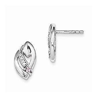 925 Sterling Silver Rhodium plated Pink and Clear CZ Cubic Zirconia Simulated Diamond Post Earrings Jewelry Gifts for Wo
