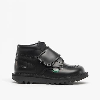 Kickers Kick Kilo Kids Leather Velcro Boots Black