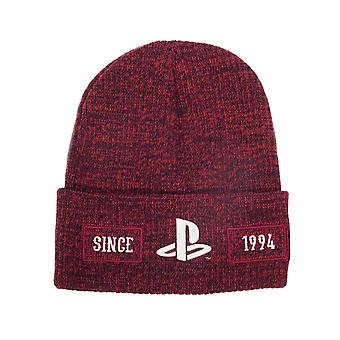 Playstation Beanie Hat Biker classic Logo Since 1994 new Official Red Roll Up