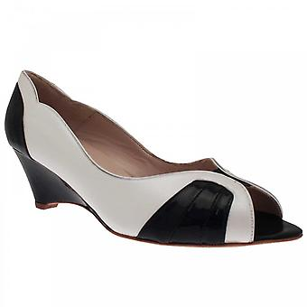 Sabrina Chic White Peep Toe Wedge Shoe