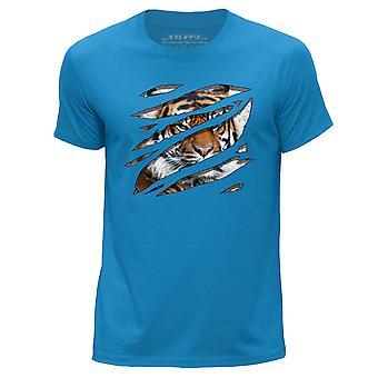 STUFF4 Men's Round Neck T-Shirt/Large Rip/Tiger/Zoo Animal/Blue