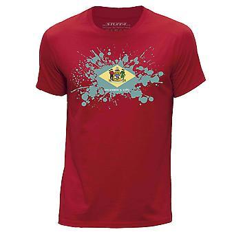 STUFF4 Mannen ronde hals T-T-shirt / / Delaware USA Braziliaanse vlag Splat/rood