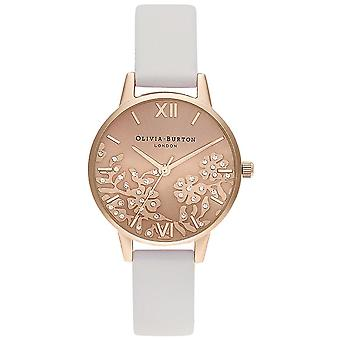 Olivia Burton Watches Ob16mv102 Bejewelled Lace Blush et Pale Rose Gold Leather Ladies Watch