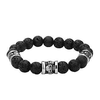 Men's stainless steel bracelet with skull and lava stones