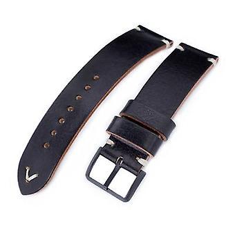 Strapcode leather watch strap 20mm, 21mm, 22mm miltat black genuine calf leather watch strap, beige stitching, pvd black buckle