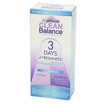 Rephresh clean balance feminine freshness 2 part kit, 1 ea