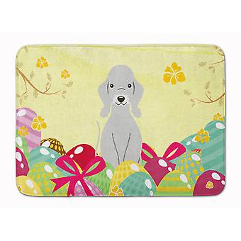 Easter Eggs Bedlington Terrier Blue Machine Washable Memory Foam Mat