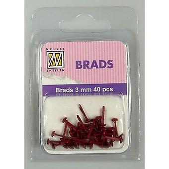 Nellie's Choice Floral brads Christmas Red 3mm 40 PC FLP-BR-005