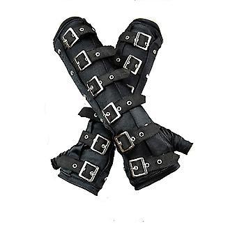 Restyle - brazaletes góticos con hebillas - negro