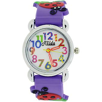 Relda Childrens Girl's 3D Ladybird On Purple Silicone Strap Watch REL105