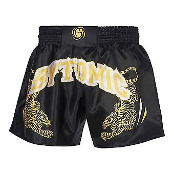 Bytomic Twin Tiger Muay Shorts Thai Negro/Blanco/Oro