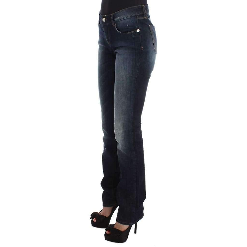 Blue Cotton Slim Fit Bootcut Jeans -- SIG3417925 C7Tyty