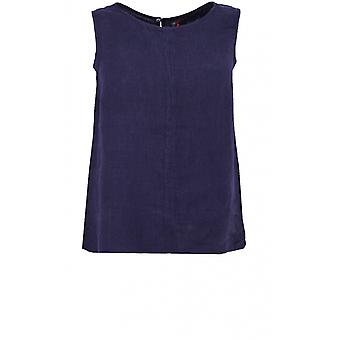 Backstage Navy Linen Sleeveless Top