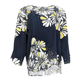 Alfred Dunner Women's Top Placement Floral Print Embellished Top Black