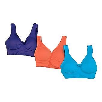 Genie Women's Wire Free Padded Nylon Bras Purple Orange & Blue