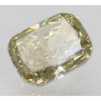 Cert 1.01 Carat Green Yellow VVS2 Cushion Natural Loose Diamond 6.65x5.2mm