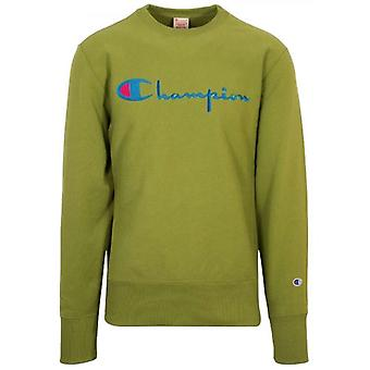 Champion Reverse Weave Green Big Script Sweatshirt