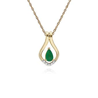 Classic Pear Emerald & Five Diamond Leaf Halo Pendant Necklace in 9ct Yellow Gold 135P1916039