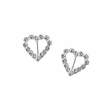 2 Silver 18mm Diamante Heart Buckles for Wedding Floristry & Papercrafts