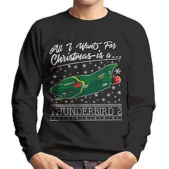 Thunderbirds Kaikki haluan jouluksi on Thunderbird 2 Miehet&s Collegepaita