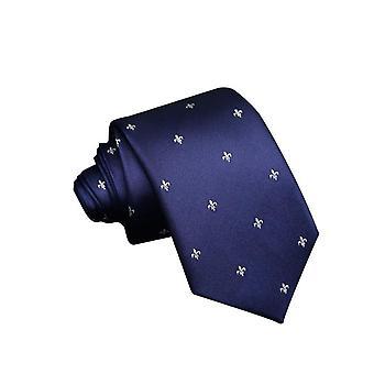 Slips 100% silke - Marinblå med mönster