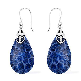 Royal Bali Handmade Sponge Coral Blue Drop Dangle Earrings Women Sterling Silver
