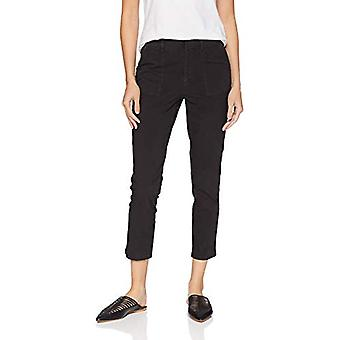Daily Ritual Women's Washed Poplin Patch-Pocket Pant, Dark Navy, 14