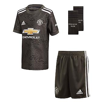 adidas Manchester United 2020/21 Kids Junior Mini Away Football Kit Green
