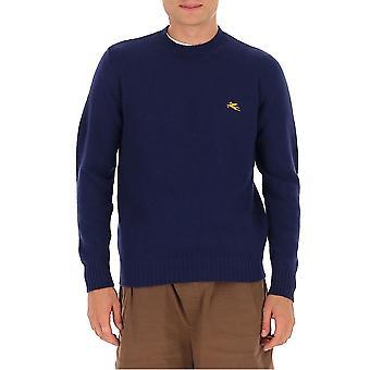 Etro 1m50096850200 Men's Blue Wool Sweater
