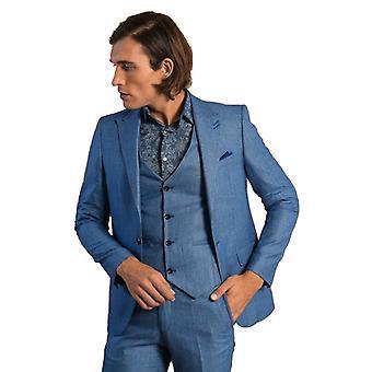 Self-patterned mono collar blue men's suit | wessi