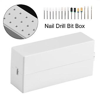 30 Holes Nail Art Drill Grinding Head Bit Holder, Display Storage Box,