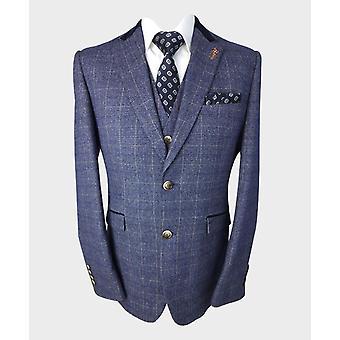 Men's Matteo Blue Slim Fit Vintage Tweed Check Suit