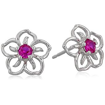 Sterling Silver Created Ruby Flower Stud Earrings, Red, Size No Size