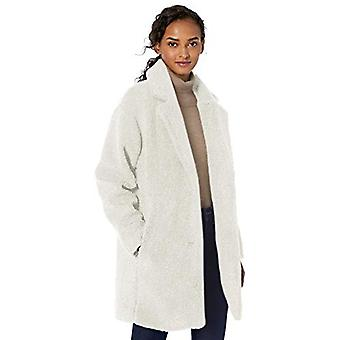 Brand - Daily Ritual Women's Teddy Bear Fleece Lapel Coat, Ivory, X-La...