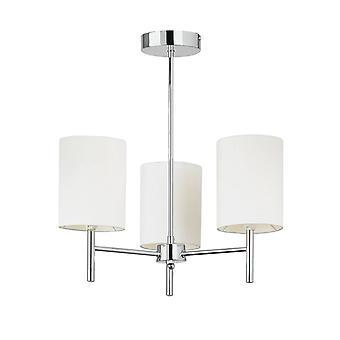 3 Light Semi Flush Multi Arm Ceiling Light Chrome, Off White Silk Effect, E14