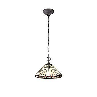 Luminosa Beleuchtung - 2 Licht Downlighter Deckenanhänger E27 mit 30cm Tiffany Schatten, Bernstein, Kristall, alteralter antiker Messing