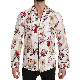 Dolce & Gabbana White Labrador Roses Cotton  Shirt